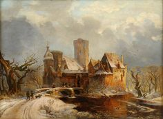 Carl Hilgers Winter Landscape with Castle and Hunters, painting Authorized official website Winter Landscape, Landscape Art, Landscape Paintings, Oil Painting Pictures, Painting Gallery, Castillo Feudal, Classic Paintings, Winter Pictures, Traditional Paintings