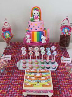 Hello Kitty rainbow birthday party treats! See more party planning ideas at CatchMyParty.com!