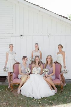 Mismatched Bridesmaid Dresses in Neutral Colors Bridesmaid Poses, Mismatched Bridesmaid Dresses, Bridesmaid Flowers, Wedding Bridesmaids, Wedding Dresses, Wedding Inspiration, Wedding Ideas, Wedding Fun, Gold Wedding