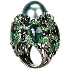 Wendy Yue ~ Luminous Throne ~ 18 Karat White Gold Ring with a 17 mm Black Pearl, Brown Diamond, White Sapphire, Tourmaline, Tsavorite Pearl Ring, Pearl Jewelry, Jewelry Rings, Jewelery, Silver Jewelry, Fine Jewelry, Lanvin, Unusual Rings, Insect Jewelry
