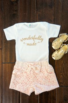 Wonderfully Made Gold Glitter on White Onesie Baby Girl and Toddler - Coming Home Outfit - Baby Shower Gift by GraceandLucille on Etsy https://www.etsy.com/listing/224316979/wonderfully-made-gold-glitter-on-white