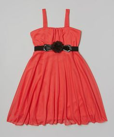 Loving this Coral Belted Dress on #zulily! #zulilyfinds