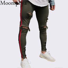 Resultado de imagen para Stripe Ripped Jeans For Men 410467225a5