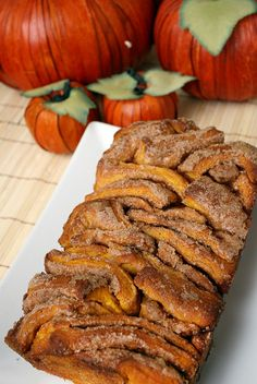Pull-Apart Cinnamon Sugar Pumpkin Bread with Buttered Rum Glaze