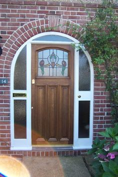 1930s Arched door with real leaded glass (255.2)