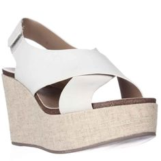 The Steven Steve Madden Genesis Sandals feature a Leather upper with a . The Man-Made outsole lends lasting traction and wear. Steve Madden Wedges, Spring Step, Wedge Sandals, Leather Sandals, White Leather, Criss Cross, Spring Outfits, Spring Fashion, Womens Fashion