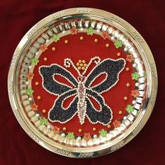 Butterfly Aarthi plate #handmade #custom #indian #wedding #artisans #design #butterfly