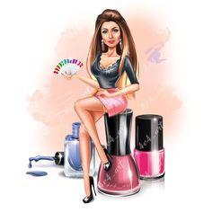 #図面 #マニキュア ディブホス #爪 ネイルデザインホーム Nail Salon Design, Nail Salon Decor, Salon Art, Beauty Salon Decor, Cartoon Makeup, Makeup Illustration, Nail Logo, Fashion Design Template, Nail Quotes