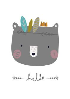 Aless Baylis for Petite Louise Hello Bear. Kids Prints, Art Prints, Baby Posters, Funny Drawings, Animal Drawings, Funny Illustration, Woodland Illustration, Dog Logo, Wall Drawing