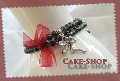 Bracelet double 6mm gris fée clochette