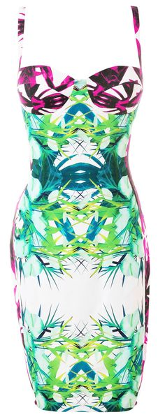 Clothing : Pencil Dresses : 'Carmel' Tropical Print Pencil Dress