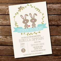 Twin Bunny Baby Shower Invitation for a Boy or Girl - Instantly Downloadable and Editable File - Personalize at home with Adobe Reader