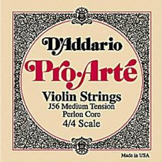 D'Addario Pro-Arte 1/8 Violin G String Medium Gauge Silver/Perlon by D'Addario. $7.43. These perlon core strings are exceptional for serious students and amateur players. Pro-Arte strings have a warm sound, are less sensitive to humidity and temperature changes, and break in quickly.
