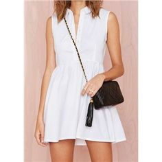 White Lapel Sleeveless Loose Dress