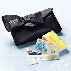 This is too cute! Bridesmaids Survival Kit Clutch comes complete with two bandaids, four bobby pins, a moist towelette, mini sewing kit, a peppermint, and a tissue pack! Everything you need- Just in case