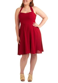 Singing Shirley Dress - Plus Size - Red, Solid, Wedding, Party, Vintage Inspired, A-line, Halter, Summer, Mid-length, Rockabilly, Pinup