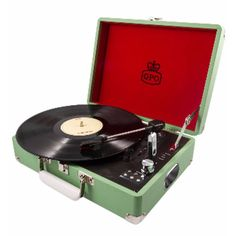 Green Attache Record Player (170 AUD) ❤ liked on Polyvore featuring fillers