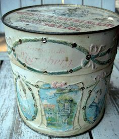 Vintage tin, german chocolate tin with decorative ribbons