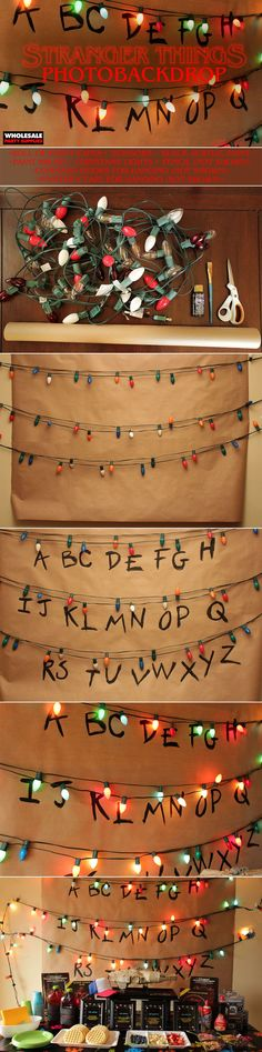 Fremde Dinge Alphabet Wall Party Hintergrund - Creepy and cute - Stranger Things Alphabet Wall, Stranger Things Wall, Stranger Things Season, Party Kulissen, Party Ideas, Event Ideas, Event Decor, Birthday Party Images, Kind Photo