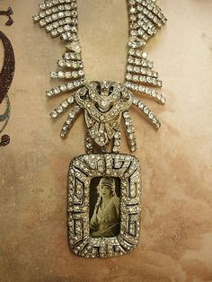 Paste rhinestone Flapper necklace loaded with spider sprays of stones and portrait pendant