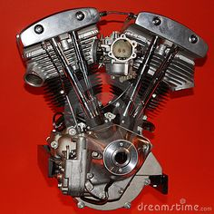 Motorcycle Engine against red background