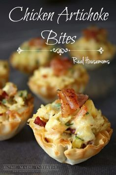 Looking for easy appetizer recipes that can be made ahead of time? This is the one bite appetizer recipe youve been waiting for. Chicken Artichoke Bites are filled with cheese, artichoke hearts, chicken and bacon, served in a flaky phyllo cup. The chicke One Bite Appetizers, Chicken Appetizers, Finger Food Appetizers, Easy Appetizer Recipes, Yummy Appetizers, Appetizers For Party, Finger Foods, Chicken Recipes, Poultry Appetizers