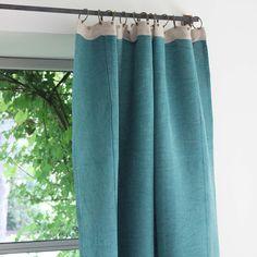 rideau bleu en lin collection atelier deco. Black Bedroom Furniture Sets. Home Design Ideas