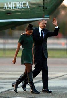 Sasha Obama and President Barack Obama