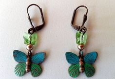 Brass Butterfly Earrings  turquoise and green by MyBuddyBling, $10.00