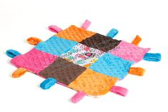 OWLS in Pink Minky Tag Security Blanket- Ships in 1-3 Days