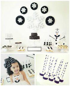Olaf Inspired Black & White Winter Wonderland Themed Birthday Party via Kara's Party Ideas   KarasPartyIdeas.com (3)