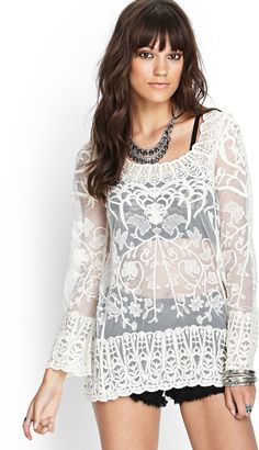 Forever 21 Sheer Embroidered Tunic on shopstyle.com
