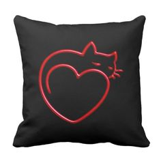 I Love Cats! (Stylized Red Outline on Black) SQP Throw Pillow