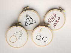 Harry Potter Minimalist Embroidery Hoop Art by WhiteCedarCabin