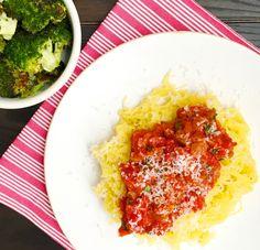 Parmesan Spaghetti Squash with Tomato Sauce and Roasted Broccoli