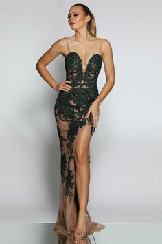 2d096fdf240 Jadore JX1028 Emerald Green   Nude Lace Midi Formal Dress. Nude Prom Dresses  ...