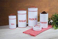 Country Vintage Retro Red Enamelware Canister Set Kitchen Flour Sugar Coffee Tea | eBay