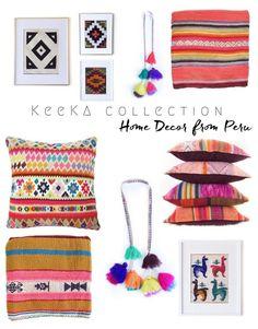 Vibrant Peruvian Home Decor from Keeka Collection - Daly Digs Interior Design Inspiration, Decor Interior Design, Diy Design, Nursery Themes, Room Themes, Boho Diy, Boho Decor, Peruvian Art, Peruvian Textiles