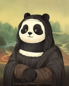 Des pandas dans des peintures célèbres en GIF Dessein de dessin
