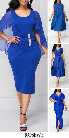 Royal Blue Back Slit Cape Shoulder Sheath Dress. CLICK Visit link above for more info Blue Dresses For Women, Summer Dresses, African Fashion Dresses, African Dress, Dress Outfits, Fashion Outfits, Womens Fashion, Dress Fashion, Marine Uniform