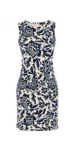 Warehouse Jungle Print Textured Dress, Blue