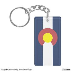 Flag of Colorado Double-Sided Rectangular Acrylic Key Ring