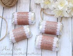 Bridal Shower Favors Burlap and Lace Personalized Mini by AniArts