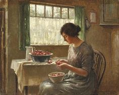Cleaning Fruits, by William Kay Blacklock (English, Catholic Quotes, Catholic Saints, Light And Shadow, Beautiful Paintings, Figure Painting, Contemporary Artists, Impressionist, Art History, Illustration Art
