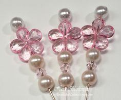 White and Pink Pearls with Crystals and a Pink Flower Bead.