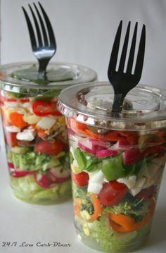 These see-through plastic cups make a great alternative to mason jars for those salads in a jar. Dressing on the bottom, then hard stuff, then stuff that wilts on top. GREAT FOR GRAB AND GO, PARTIES, OR PICNICS! Don't forget bacon & cheese for your Chopped Salad in a Cup