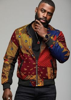 Kofi Men's African Print Bomber Jacket (Harvest Multipattern) at Diyanu African Inspired Fashion, African Print Fashion, Africa Fashion, African Fashion Dresses, Modern African Clothing, African Clothing For Men, African Shirts, African Attire, African Wear