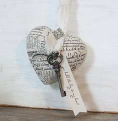 French Script Paper Mache Heart and Skeleton Key @Kiwi Kween & Patina