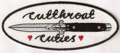 Fully embroidered cutthroat cuties patch! approximately 11cmx 4.5cm    Classic cuties logo on an oval base, Proudly made locally in New Zealand.