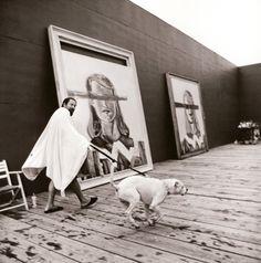 Julian Schnabel in his studio, Montauk, New York, August 2001. by Jonathan Becker ~B&W P~